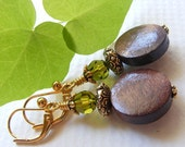 Wood, Green Swarovski Crystal and Gold-Tone Earrings on Leverbacks. Brown. Olivine. Earth. Nature.