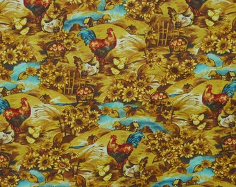 Pleasant Farm J7024 by Hoffman Fabrics Roosters 100% Cotton Print Fabric