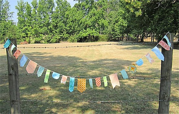 SALE Fabric Bunting, Aqua, Bright Happy Bunting Banner 9 ft. Party Garland Only 1 Left Aqua and Orange Theme