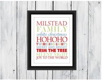 Christmas Print. Subway Art with Family Name 8x10