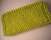 """Bright Lime Green - Hand Knitted - Dish Cloth -  Cotton - Medium 8"""" Square"""