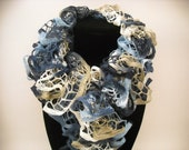 SALE - Ruffle Scarf - Handknit - 6 Feet Long - Blues and Tans - Love this one with Denim