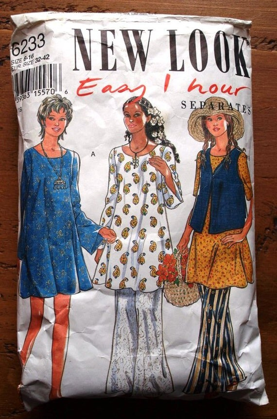 Holiday Sale - 90s sewing pattern. Separates, dress, top, vest, trousers. New Look 6233 Easy 1 Hour pattern