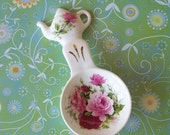 Royal Patrician Olympian Rose Tea Bag Caddy Tea Scoop Caddy or Spoon Rest