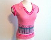 Pink Women's Shirt, Sleeveless V-Neck Collared Ladies' Shirt, Size Small, Pink Sleeveless Sweater, Pink Blouse