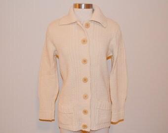 Off White Cardigan, Vintage Sweater, Women's Off White Sweater, Ladies' Sweater, Sherry Gale Vintage Acrylic Cardigan, Winter Sweater