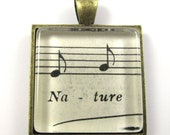 Music Note Pendant, Nature, from Vintage Music Sheet, in Glass Tile Square