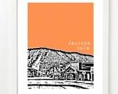 Jackson Hole Poster  - Art Print - Wyoming City Poster - Jackson Wyoming Skyline