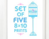 Set Of Five City Prints - City Skyline Posters - Pick Your Mix and Colors 8x10 image