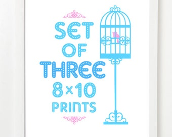 Set Of Three City Prints - City Skyline Series - Pick Your Mix and Colors 8x10 image