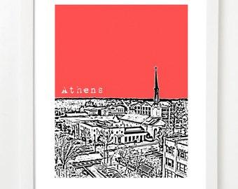 Athens Georgia Poster - City Skyline Art Print - Athens, GA - Unique Graduation Gift - VERSION 1