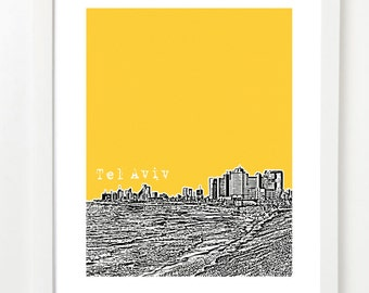 Tel Aviv Skyline Poster - Israel City Skyline Series Art Print - Tel Aviv Travel Art