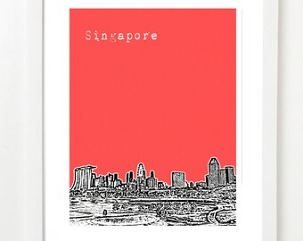 Singapore Skyline Poster  - Singapore City Skyline Art Print  - Singapore Travel Art