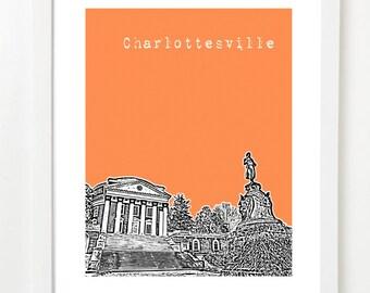 Charlottesville, Virginia Skyline Poster - Charlottesville Art Print - Charlottesville Wedding Gift
