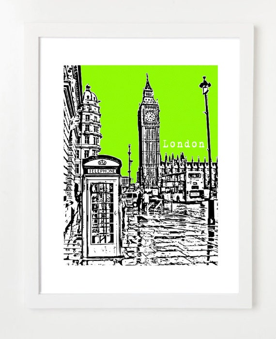 Big Ben City Skyline Illustration - London England Art Print