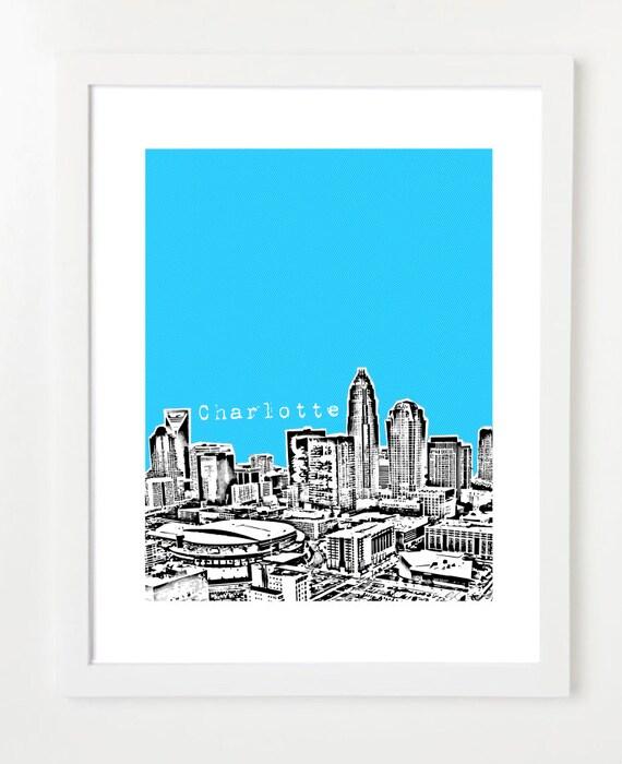 Charlotte Skyline Poster - Charlotte North Carolina Art Print - City Skyline Series