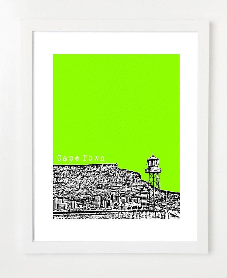 Cape Town South Africa Cape Town City Skyline Art Print
