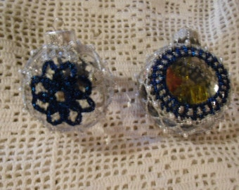 Vintage Ornaments - 2 Crocheted Metallic Thread and Faux Pearl Ornaments for Holidays and Celebrations