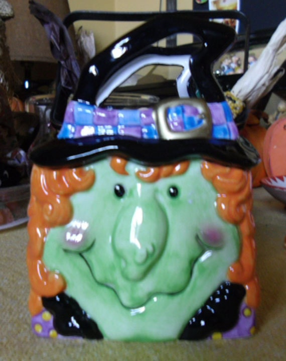 Vintage halloween ornament ceramic witch candy dish made Vintage halloween decorations uk