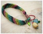 Woven Friendship Bracelet Key Strap - Wristlet - Key Chain with Wood Bead, Green, Red, Yellow, Black Stripes