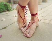 Red Barefoot sandles. sexy foot thong, Siam Ruby  teardrops nude shoes. Crochet barefoot sandals