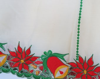 Christmas Tablecloth - Christmas Cutwork Tablecloth - Poinsettia Tablecloth - Bell Tablecloth - Round Christmas Tablecloth - Free Shipping