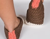 """Crocheted Slippers """"A Touch Of Color"""""""