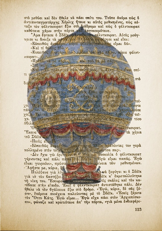 Vintage Book Print - Hot Air Balloon - Book Page Print - Mixed Media Art - Altered art Upcycled Book page -  8.0 x 5.5 in (A5)