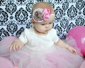Pink and Brown Flower Headband and Photo Prop. Satin and Pearl