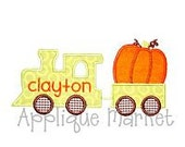Personalized appliqued train with pumpkin tshirt or onesie.