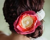Coral Ombre Wedding Fabric Hair and Sash Flower with Pearl Cluster Center and Crystals
