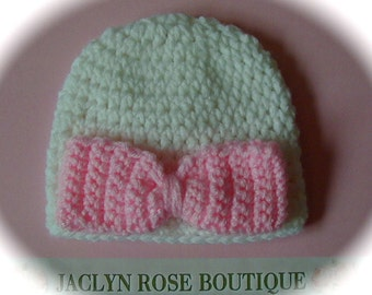 Crochet beanie hat white with pink purple green turquoise bow for premie newborn or 0-3 month baby girl photo prop spring easter
