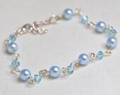 Blue Crystal and Pearl Bracelet - Blue Bridal Bracelet, Something Blue, Swarovski, Blue Bridesmaids Bracelet