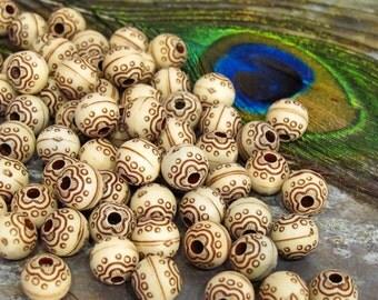"Round Beads 9.5mm - 24 Beads - ""Antique"" Acrylic Bead"