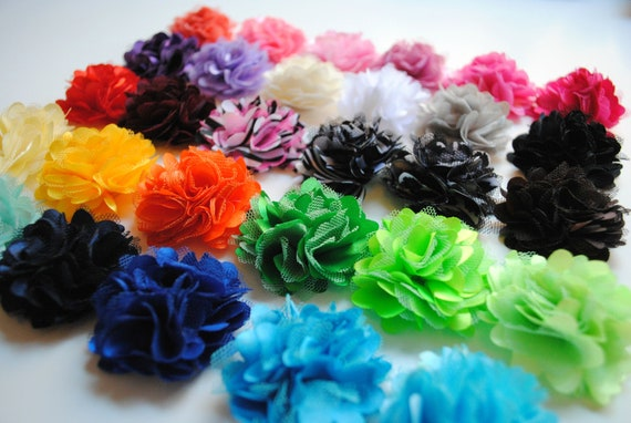 "Mini Satin and Tulle 2"" Flower Puffs - You CHOOSE the COLORS from list below - Your Choice: Set of 5, 10, or 25  - Wholesale Discounts"
