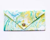 Handmade Marbled Clutch Green Blue Yellow White