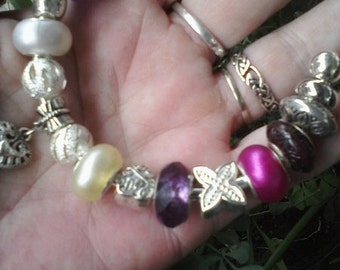 Purple and pearls, Euro style bracelet