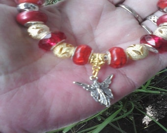 Fire Fairy, gold and murano glass, Euro style bracelet