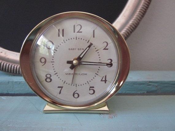 Vintage Baby Ben Westclox Wind Up Bedside Alarm Clock