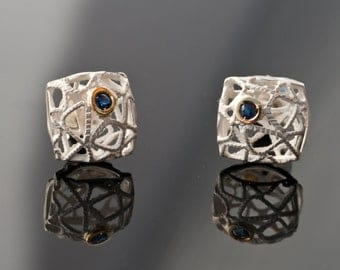 Delicate Sterling Silver & Gold Square geometric earrings with Sapphires-Gifts for Her