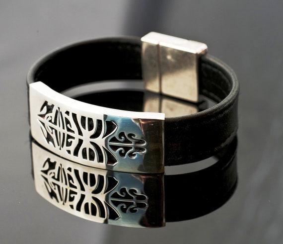 Wide Modern Tribal Bracelet - Unisex Lucky Bracelet - Good Luck Bracelet - Surfer Bracelet