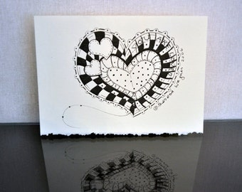 Hearts for Annie - Black and White  (set of 7)