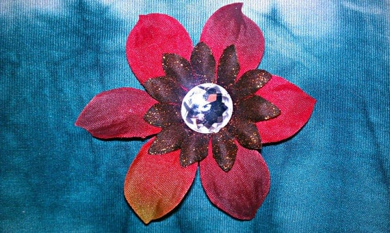 Handmade Red and brown orchid hair clip barrette