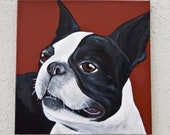 Boston Terrier Portrait/Acrylic on canvas