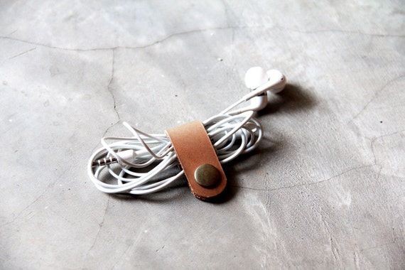 Leather Cable Band Light Brown - Hand Crafted Leather Custom