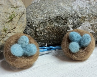 Nest & Eggs Needle Felt Bobby Pins