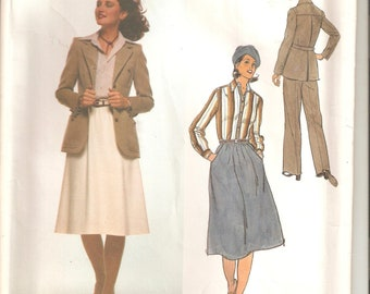 UNCUT Vogue Sewing Pattern 1619, Calvin Klein Design for Jacket, Shirt, Skirt and Pants, Sz 14