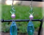 Blue dangle pearl and crystal earrings