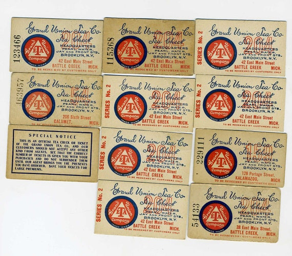 Vintage Grand Union Tea Company // Battle Creek, Michigan //Tea Check Ticket Card // Brooklyn, N.Y //