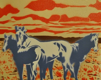 Wild Horses nature scene spray paint stencil painting on canvas